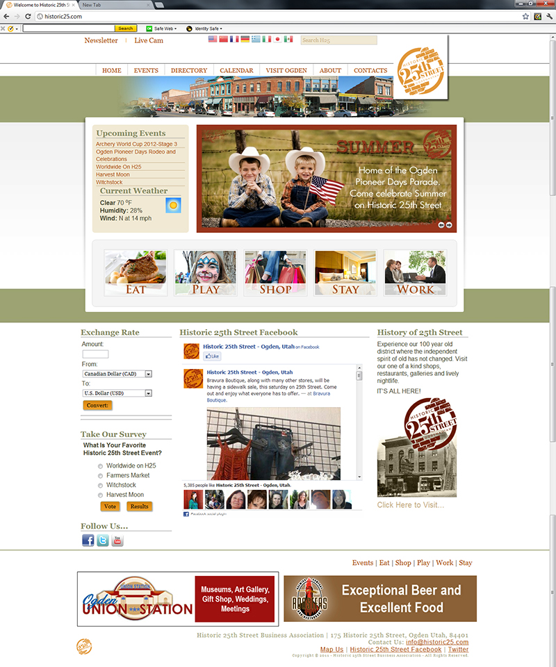 The Downtown Historic 25th Street Business Association website was a project designed, developed to allow the group to bring control of the content into their hands. A custom template was developed based on extensive market research. Joomla was selected as the platform and the site was developed under the direction of the association's executive team. The project included several key functions to support and promote the businesses in the downtown association. 
